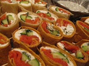 Smoked Salmon Wraps Served with Yogurt Dill Sauce