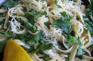 Fettuccini with Asiago, Lemon & Parsley